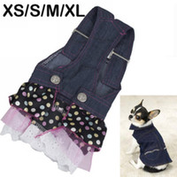 Wholesale New Pet Dog Denim Gallus Sequin Dress with lovely Lace Heart XS S M XL Apparel Costume
