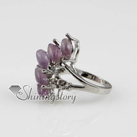 Wholesale fire semi precious stone natural agate amethyst finger rings jewelry Spsr5003 handmade fashion jewellery