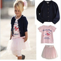 baby ski suits - New Arrival Baby Girls Suits Baby Sets Knitted Coat Short Sleeve T shirts Ski