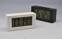 Wholesale Black White Digital LED Snooze Alarm Date Desk Clock LCD Screen Display Backlight Sensor