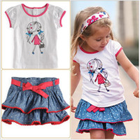 Wholesale New Summer Baby Girl Piece Suits T shirt Denim Skirt Kids Clothing Polka Dot Tutu Print Dress Sets