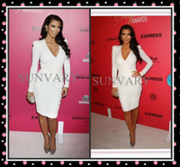 Real Photos Fashion Week V-Neck 2012 Fall Kim Kardashian Sexy V-neck Long Sleeves Knee Length Celebrity Dress Prom Dresses