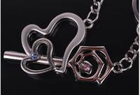 Wholesale With diamond roses stone mandrel couple keychain ring
