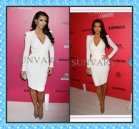 Reference Images Fashion Week V-Neck 2013 Fall Kim Kardashian Celebrity Dress Sexy V-Neck Long Sleeves Knee Length Prom Dresses