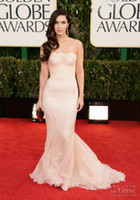 Reference Images Strapless Lace 70th Golden Globe Awards Red Carpet Megan Fox Prom Dress Lace Mermaid Strapless Ruched Slim Sweep