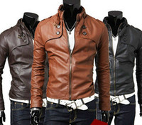 Wholesale men s leather jackets pu leather autumn spring stand collar men s outerwear