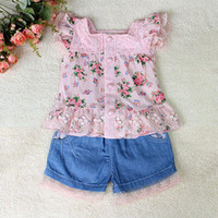 Wholesale 2013 New Fashion Baby Girl Clothing Set Pink Tshirt and Short Jeans With Lace For Girl Summer Wear