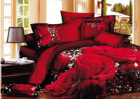 Wholesale 3D Red Rose printed Bedding set Queen size Hot Selling Products Bed in a Bag