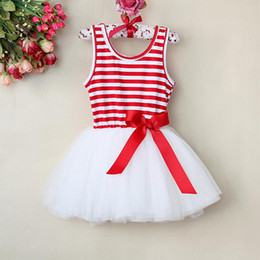 Wholesale 2013 New Fashion Children Baby Girls Dress Red Striped With Bow Flower Party Dresses For Summer