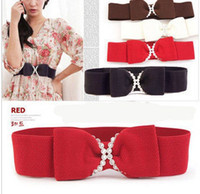 Wholesale Diamond Bow Elastic Stretch Buckle Girdle Wide Belt Strap Waistband Lady Girl