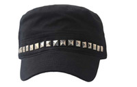 Wholesale Unisex Rivet Army Caps Military hat adjustable hat Adjustable Cap Rivet Decorated Flat Hats colors