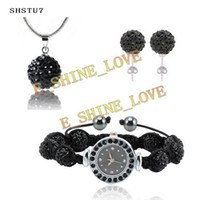 Wholesale 2013 mm AB Clay AAA crystal Ball Black Watch Jewelry Set wedding jewelry SHSTUS7