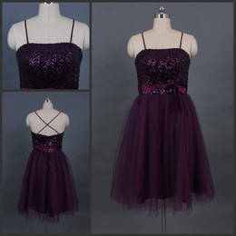 Wholesale 2013 New Style Party Dresses with Sexy Shining Sequined Spaghetti Straps and Elegant A Line Short Sash Bowknot X Back Purple Cocktail Gowns