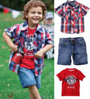 TUTU Christmas Girl 2013 Summer Baby Boys 3 Piece Suits Plaid Shirt+T-shirt+Denim Shorts Children Clothing Sets DHL Ship