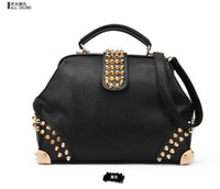 Wholesale Women Fashion Rivet Motorcycle Handbags New Design Retro Doctor Shoulder Bag PU Leather Women W1322