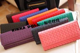 À double bourse de portefeuille en Ligne-Cuir bourse d'embrayage portefeuilles Portefeuille double flip tissé type Ladies Wallet Lady Top Quality LH1