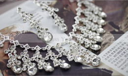 Wholesale Real Images In Stock Blingbling Wedding Set Bridal Jewelry Necklace and Earring Wedding Accessory