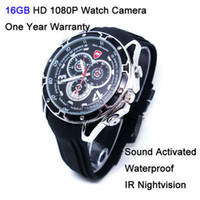 Wholesale 16GB p Waterproof Nightvision Voice Control Spy Hidden Watch Camera SC356