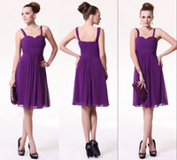 Wholesale Lilac Custom Made Straps Ruffle Chiffon Knee Length Bridesmaid Dresses Wedding Party Gowns Cocktail