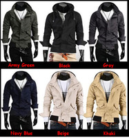 Wholesale On sale Fashion New Mens Casual Full Zip Slim fit Top Sweatshirt Hoodies Colors Free Ship