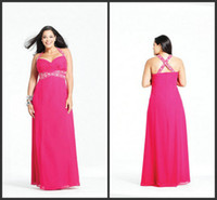 Wholesale 2013 Sexy Fuchsia Beaded Halter Floor Length Chiffon Column Plus Size Wedding Evening Party Dresses
