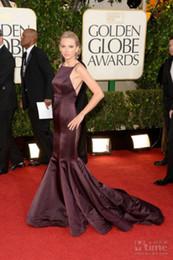 Wholesale 70th Golden Globe Celebrity Dresses Red Carpet Purple Square Spaghetti Straps Mermaid Swift