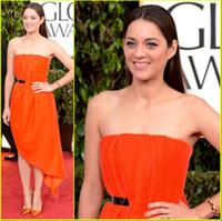 Wholesale Marion Cotillard Lovely Orange Short Formal Celebrity Party Dress at Golden Globes Red Carpet