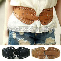 Wholesale Lady s belt Waist seal wide edition restore ancient ways hollow out rivet