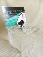 Wholesale 1 Premium Acrylic Donation Box with a lock sign board