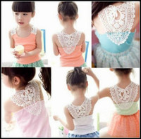 Wholesale EMS Free Girl s Vest Singlet Summer top Fashion Hollow Shoulder strap vest candy Sleeveless t shirt