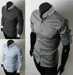 Wholesale Men s shirts Korean Men s Casual Slim shirt fashion Men s Long Sleeve Sleeve regolabile shirt
