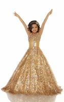 Wholesale 2013 Hot Halter Sequins Lace Gold Ball gown Beads Glitz pageant dresses Girl s Party Dresses S