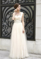 Wholesale DHL New A Line Party Dresses Square Floor length Beaded Rhinestone Prom Gowns