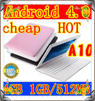 Android 4.0 laptop computer sales - 100PCS Cheap sales inch Allwinner A10 laptop computer Android os GB GB WIFI camera netbook