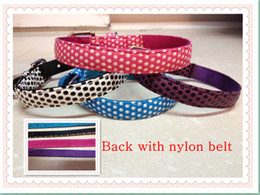 Free shipping PU+Nylon pet adjustable puppy dog dot cut love cheap strong collar S M L four colors
