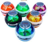 Wholesale New PowerBall Gyroscope LED Wrist Strengthener Ball SPEED METER Power Grip Ball Power Ball Freeshipping colors