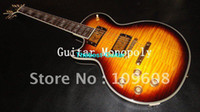 Solid Body left hand electric guitar - New Arrival black orange earth head left hand Supreme Electric guitar in stock wit