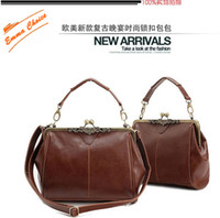 Brown Women Plain Restoration brown classical lady handbag shoulder bag high quality pu&buckle 1pc lot free shipping