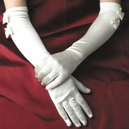 Wholesale Good Quality Satin Bow Bride Wedding Bridal Gloves Pure White and Ivory White Colors