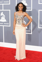 Reference Images kelly rowland dress - 2012 th Annual Grammy Awards Kelly Rowland Dresses Sheer Tank Top Beaded Embroidery Sheath Gowns