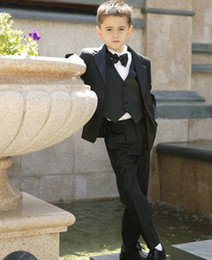 Wholesale Black Boys Suits Baby Page Boy Suit Tuxedo Wedding Party Clothes Four Pieces w Jacket Vest amp Bow Tie