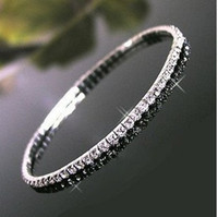 Wholesale Single One Row Rhinestone Crystal Stretch Anklets Chain Bracelet one have Grains crystal