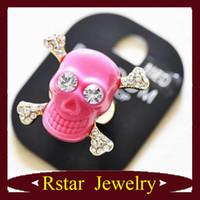 Wholesale Vintage Style Skull Bones Red Skull Head Ring Personality Resin Skull Opening Ring JZ33