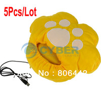 Wholesale 5Pcs Cat pad USB Heated Slipper Anti slip Sole USB Foot Warmer Shoes for Winter Yellow Free Ship