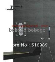 Wholesale Luxury Pieces Round Shower Head Wall Mount Rain Bathroom Way Function Shower Faucet Set Bra