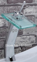 Wholesale square tempered glass waterfall Chrome Bathroom Basin Sink Mix Tap Faucet Waterfall CT61
