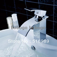 Wholesale bathroom basin sink polished chrome brass waterfall spout mixer tap faucet Y