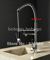 Wholesale 75cm Pull Out Spray Kitchen Sink brass basin polished chrome Faucet Mixer Tap Y