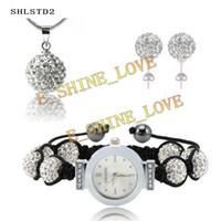 Wholesale 2013 mm AB Clay AAA crystal Ball white Shamballa Watch Jewelry Set SHLSTDS2