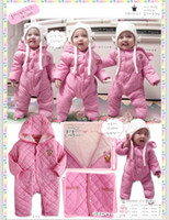 Wholesale Lovely Warm clamp cotton padded Baby Rompers Warm Baby Pajamas Baby Sleepsuits one piece Jumpsuits